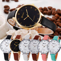 Fashion Womens Girl Stainless Steel Faux Leather Quartz Analog Dial Wrist Watch
