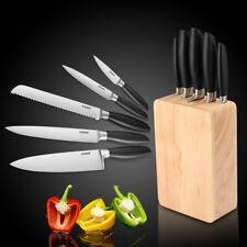 Profi 6 teilig Messer Set mit Holz Block Küchenmesser Messerblock Kochmesser