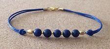 Lapislazzuli Blu Perline, Corda in Pelle, placcata in tono oro, Braccialetto dell'amicizia