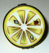Limoges Box ~ Rochard ~ Citrus Fruits ~ Lemon Half ~ Ladybug & Bee ~ Peint Main
