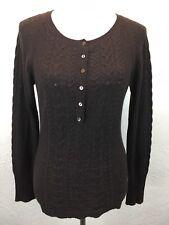 S22 Autumn Cashmere Sz L 100% Cashmere Brown Cable Knit Button Scoop Sweater