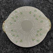 Belleek Ireland Shamrock Pattern Handled Cake Serving Plate Brown Mark