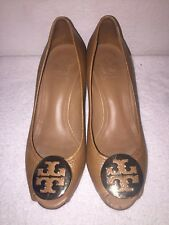 TORY BURCH Sally 2 Leather Wedge Peep Toe Pump, Tan/Gold logo Shoes Size 7