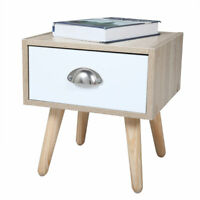 Beside End Table Nightstand Wooden Bedroom Storage Furniture w/1 Drawer 1/2 Pcs