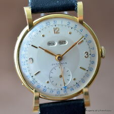 JUVENIA 18K SOLID YELLOW GOLD DAY DATE MONTH STUNNING FLARED LUG 17J RARE PIECE