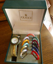 Auth GUCCI 11/12 Gold Plated bracelet Women's Watch / Bezel Set  med