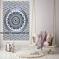 Ethnic Mandala Tapestry Indian Beach Throw Large Black White Cotton Wall Hanging