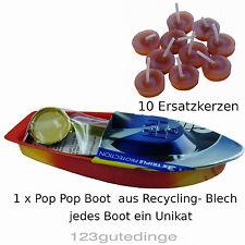 😊 1 x Pop Pop Boot mit 10 Ersatzkerzen , Dampfboot,  Knatterboot, Kerzenboot