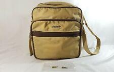 RARE Vintage 70s Adidas Travel Duffel Bag Metal Trefoil Logo Yellow Brown #40230