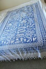"""Blue cotton screenprinted tablecloth tapestery fringe rectangle 54"""" x 86"""" tribal"""