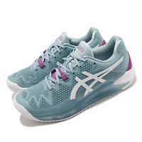 Asics Gel-Resolution 8 D Wide Smoke Blue White Women Tennis Shoes 1042A097-403
