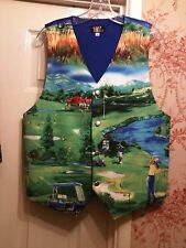 MENS WAISTCOAT-BESPOKE- HANDMADE TO FIT YOU- GOLF COURSE, GOLF BALLS, (X12 PICS)