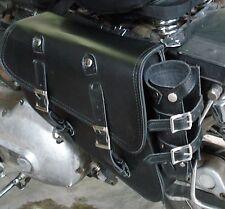 Solo Black Leather SaddleBag 701 w/Bottle for Harley Sportster 883 Hugger