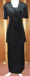Vintage Another Thyme Black w/Silver Threads Faux Tunic Maxi Evening Dress S12
