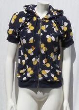 JUICY COUTURE Navy Blue Lemon Print Cotton Terry Cloth Zip Hoodie Jacket Top M L