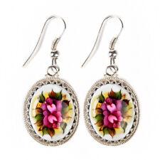 Earrings Finift Enamel Gift Box Hand Made Russia White Pink Flowers Gzhel
