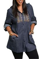 Women 1X 2X 3X Button Down Front Hoodie Jacket Stretch Top BLUE-Size Runs Small