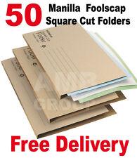 50 x Manilla Economy Foolscap Square Cut Folders 170gsm Paper A4 Document File