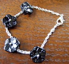 "7"" Silver Plated Link Chain Bracelet with Black Flat Carved Stone Flower Beads"