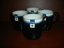 NEW Set of 4 DENBY JET IMPERIAL DOUBLE DIP MUG CUP BLUE POTTERY STONEWARE CHINA