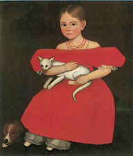 Girl in Red with her Cat and Dog  by Ammi Phillips  Giclee Canvas Print Repro