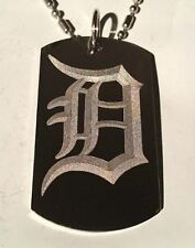 OLD English Font Initial Alphabet Letter D Dog Tag Metal Chain Necklace Jewelry