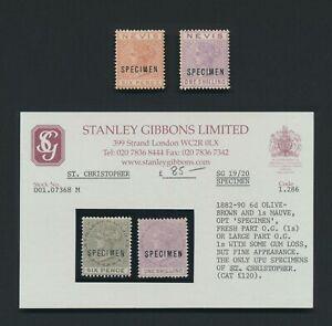 ST CHRISTOPHER STAMPS 1882-1890 SG #19/20s 6d & 1/- & NEVIS SPECIMENS, MOG VF