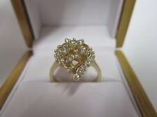 GORGEOUS ESTATE 14 KT GOLD 1 CTW DIAMOND CLUSTER RING 5 GRAMS !!!!!!!!