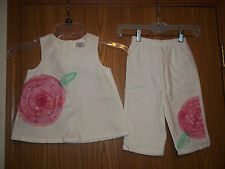 Girls Size 5T White Flower 2 Piece Top Pants