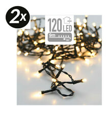 2x 12m Lichterkette Indoor Outdoor 120 LED warmweiß IP44 dunkelgrün NEU