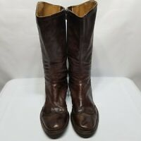 C4 BIVIEL Riding Boots Womens Size 7.5 EU 38 Leather Brown Round Toe Buckles