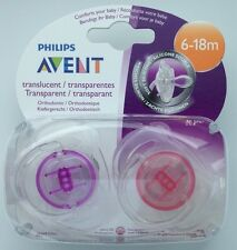 Philips Avent Translucent Soother Twin Pack - Age 6-18m (Pink / Purple)  (2227)