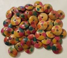 Lot 50 Painted Wood Flat Round Disc African Tribal Jewelry Craft Beads 25mm 1""