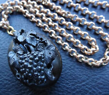 antique Victorian Vulcanite black cameo fruit locket pendant chain necklace D466