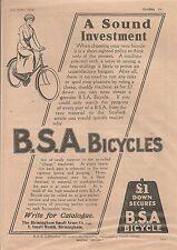 BSA Small Heath Birmingham Bicycle A Sound Investment 1914 Vintage Advert
