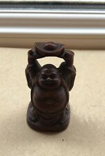 Small Happy Buddha Hands In The Air Figure Red/Brown Ornament  No 5