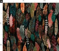 Nature Birds Feathers Watercolor Tribal Fall Spoonflower Fabric by the Yard