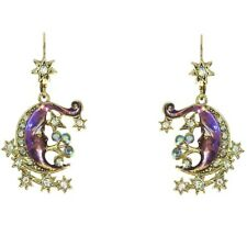 Kirks Folly Night Rider Moon Leverback Earrings Goldtone/Violet w/AB Crystals