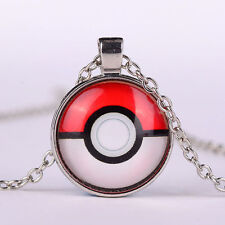 Chic Cabochon  Necklace Cute Anime Pokemon Pokeball Silver Plated Glass Pendant