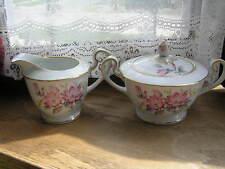 Notitake Cream and Sugar w/ Lid W/ Pink Flowers Gold Trim Gardena