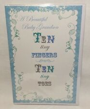 A Beautiful baby Grandson Ten Tiny Fingers Ten Tiny Toes. Greeting Card