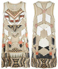 Iconique allsaints Newaz main ORNES Parti Pure Soie Mini Robe UK 12 RRP £ 398
