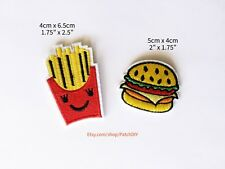 Set Hamburger + French Fries PATCHES Iron On Embroidered Applique yummy fastfood