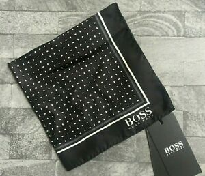 HUGO BOSS BLACK & WHITE SILK POCKET SQUARE MADE IN ITALY BNWT