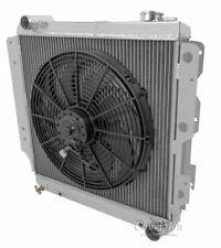 "Jeep Wrangler YJ Chevy V8 conver Radiator,16"" Fan & Relay,2 Row 1"" Tubes, AE8101"
