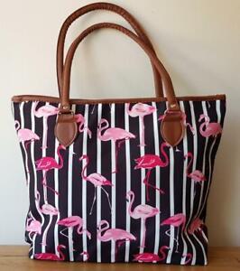 Tote Handbag Casual Designer Style Flamingo Design Lined Zip Closure 3 Colours