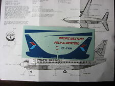 1/144 FOWLER DECALS BOEING 737 PACIFIC WESTERN DECALCOMANIES