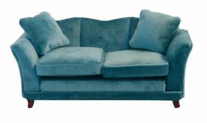 1/12 Scale Dolls House Emporium Teal Modern Velvet Sofa 9313