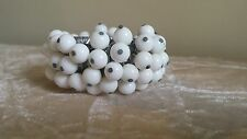 Vintage Expandable Accordion White Milk Glass beaded Cha Cha Bracelet Silver