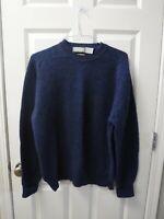 Men's VTG CHRISTOPHER HAYES IRELAND XL Blue Knit Shetland Wool Crew Neck Sweater